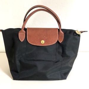 Longchamp Le Pliage Black and Brown Small Bag